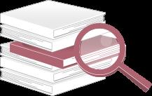Imagem representanto livros e uma lupa